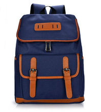 vintage fashion drawstring canvas school backpack with leather strap in different color china manufacture alibaba