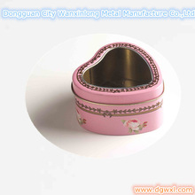 Heart shape tin can box with clear widow