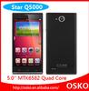 JWD Q5000 1280*720 Pixels MTK6582 Quad Core 8gb 5.0 Inch 13.0MP mobile phone wholesale mobile phones with 2500mah battery