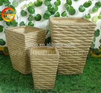 Home deco yellow ceramic square flower pot, fiberglass square pot