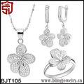 florals chapado en rodio cz pavimentada en árabe conjuntos de joyas