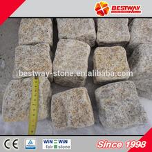 Natural yellow granite setts,split & tumbled granite setts