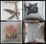 2014 Xinbo Starfish Coral Ocean Theme Applique Embroiderd Throw Pillow Cushion