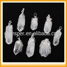 Natural color rock white quartz crystal cluster pendants