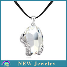 New arrival cute simple design happy girl jewelry real gold plated metal style clear chunky rhinestone necklace PS1080