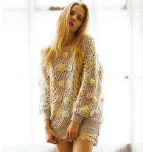 M30837A High fashion to quality 3-d flower hand made sweater