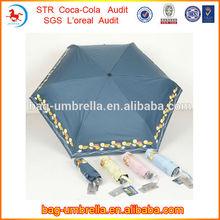Hot Sell New Invention Promotion 21inchx6k Three Fold Manual Open UV Protect Umbrella