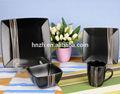 16 piezas de cerámica cuadrado negro conjunto vajilla china comprar
