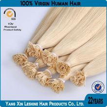 Wholesale 100%human remy natural keratin Flat Tip Noble Gold Hair Extension
