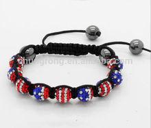 world cup rhinestone disco beads bangle,shamballa beads bracelet,America flag shamballa beads bracelet
