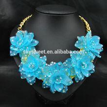 rhinestone on flower collar,embellish rhinestone necklace, five flowers necklace bib