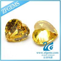 Loose heart cut zircon 8*8mm golden zirconia stones price