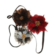Feather flower headband with elastic on back
