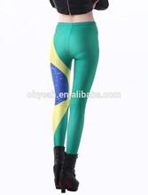 Brazil Flag Print Football women Leggings Fashionable