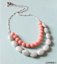 Coral And Cream Pebble Two Strands Necklace Beaded Statement Necklace