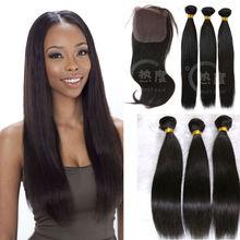 Natural Brazilian 100% Virgin Human Hair Virgin Hair Bundles With Lace Closure Natural Brazilian 100% Virgin Human Hair