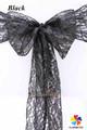 De encaje negro banda silla con hebilla de diamantes, cordón hoja silla para la boda y la fiesta, la decoración del hogar