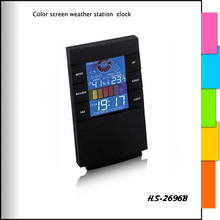 weather station clock with backlight color screen