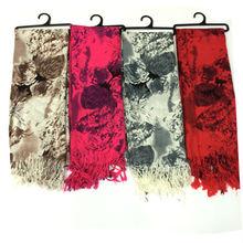 beautiful textured flower big size pashmina shawls factory