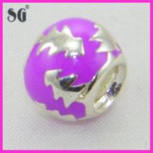 Custom made 925 sterling silver charm bead jewelry_Enamel tree pattern bead jewelry charm bead