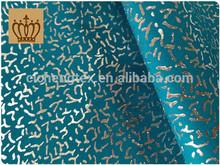 K keqiao cicheng textile 2014 high qulity ocean blue slub twill foil print stretch poplin cotton