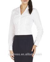 2014 High Quality 100% cotton classic white women fashion blouse shirts