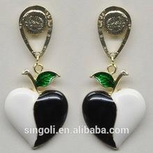 Retro yingyang stud earring white and black enamel alloy jewelry moustachio dangle earrings heart & love earrings