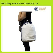 New design white cotton canvas drawstring duffel bag