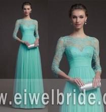 Elegant 3/4 Long Sleeves Lace Bodice Mint Blue Evening Dress