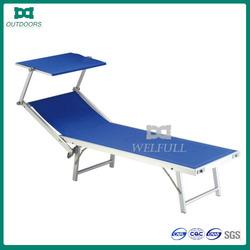 Folding aluminium beach bed with sunshade