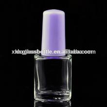 5ML transparent nail polish bottle with romantic purple cap