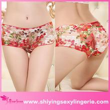 venta al por mayor sexy rojo de rosa de impresión chinensis panty de encaje