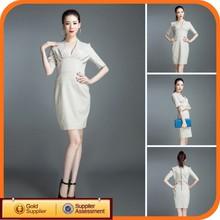Brand New Design White Cotton Woman Fashion Korea Style Formal Dress