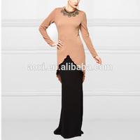 2014 China Manufacturer Latest Design Fashion Women Nude/Black Beading Peplum Mermaid Baju Kurung