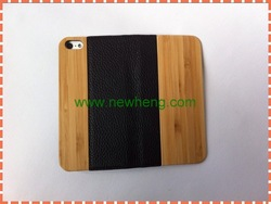 Real genuine bamboo wood +filp PU leather case cover for iPhone 5 5s
