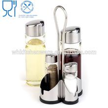 LFGB Approve stainless steel oil vinegar cruet set salt and pepper cruet
