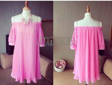 Womens Beach Dress Off the Shoulder Evening Party Sexy Chiffon Pleated Mini Dresses with sleeves 3 Colors SV004417