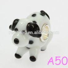 925 sterling silver core pretty Dalmatians animal murano glass beads