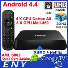 Hot selling 2.4G 5G wifi 2.0ghz UHD 4k 3d amlogic S802 smart internet tv box