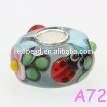 925 sterling silver core summer ladybug animal murano glass beads