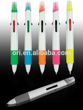 Plastic multicolor pen, 4 color highlighter pen, Fluorescent colors pen