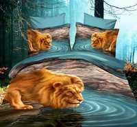 Big Panel Animal printing 3D Comforter Set, High Quality 3D Printed lion Bedding sets made in china