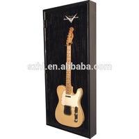 Wall mounted acrylic guitar display case with hinged door