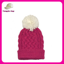 Ladies Chic Fashion 100% Cotton Hip-Hop Cable Knit Floppy with Pom Pom and fleece