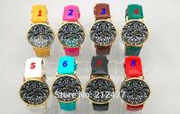 moq 25pcs freeshipping fashion COCK design drawing face promotional watch geneva, pu leather band,8colors choice