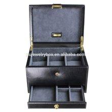 Customized two layer Black PU leather mixed wrist watch and jewelry storage box/case