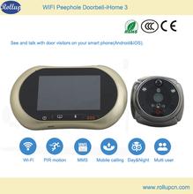 2014 wifi Android&IOS remote video talk digital door peephole viewer,sliding door hanging wheel,wireless doorbell