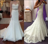 New Sexy V-neck Beaded A Line Backless Chapel Train Wedding Dresses Sweetheart Lace Bridal Gown