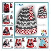 Popular High Quality Grey Chevron Dress For Baby Girl Polk Dots Minnie Pillowcase Dress Child Clothes