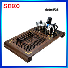 Kongfu Tea Tray Double Stove Touch-Sensitive Electric Wooden Tea Tray with Water Pump